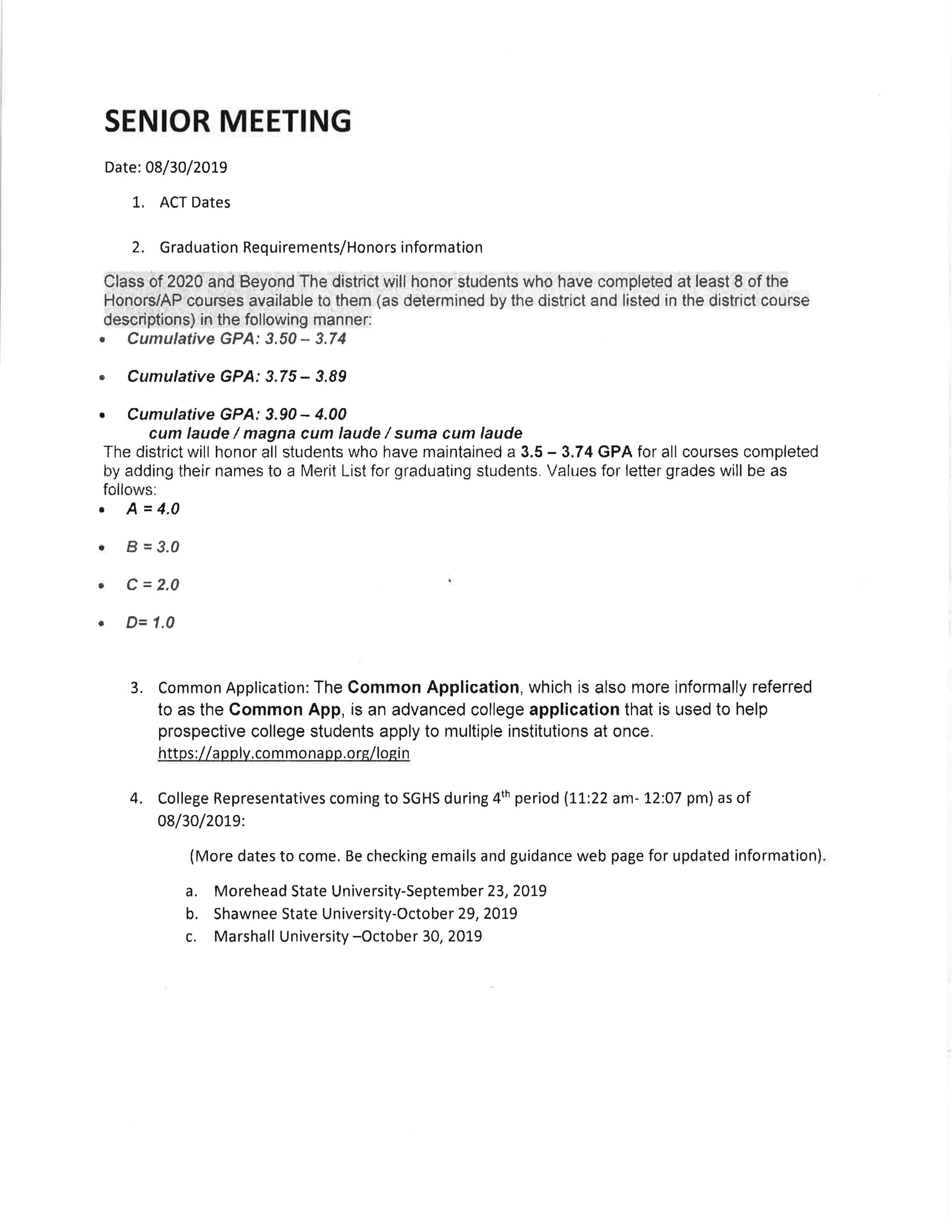 Senior Meeting Notes page 1